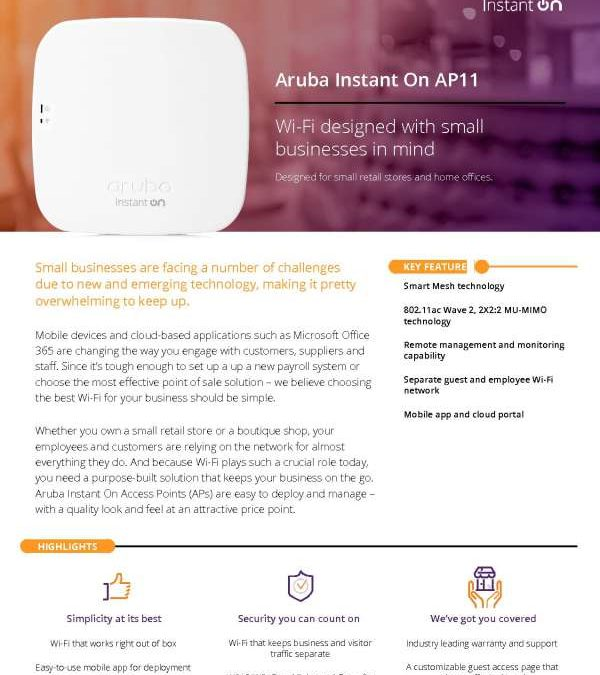 Aruba Instant On AP11 – Wi-Fi Designed with Small Businesses in Mind