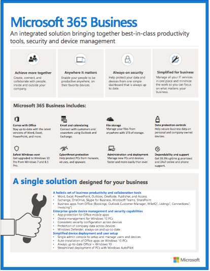 Microsoft 365 Business At-a-Glance: FREE product info