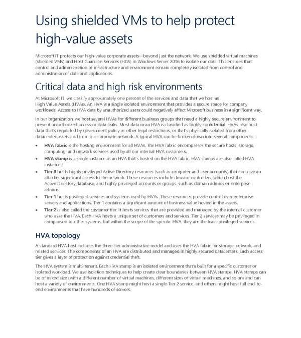 Using shielded virtual machines to help protect high-value assets